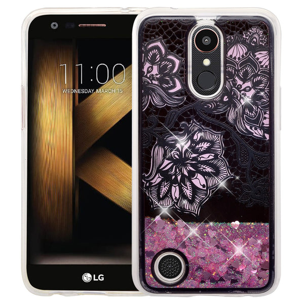 LG Aristo | K8 (2017) | Phoenix 3 | K4 2017  liquid sparkle quicksand case - clear pink flower - www.coverlabusa.com