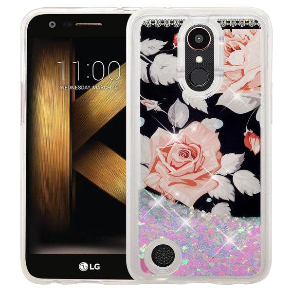 lg k20 plus  liquid sparkle quicksand case - teal(pink flower) - www.coverlabusa.com