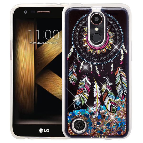 lg k20 plus  liquid sparkle quicksand case - dream catcher - www.coverlabusa.com