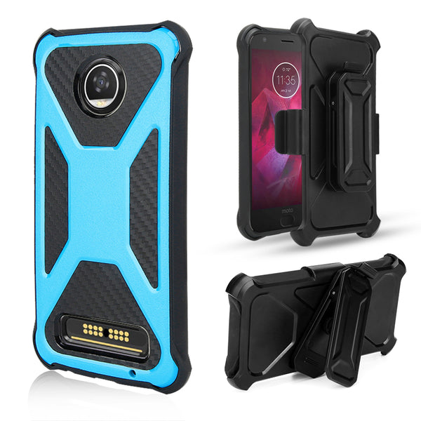 Moto Z2 Play Carbon Fiber combo case - Teal - www.coverlabusa.com