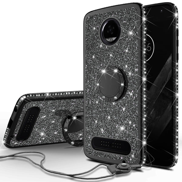 motorola moto z2 play glitter bling fashion case - black - www.coverlabusa.com