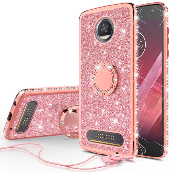 motorola moto z2 play glitter bling fashion case - rose gold - www.coverlabusa.com