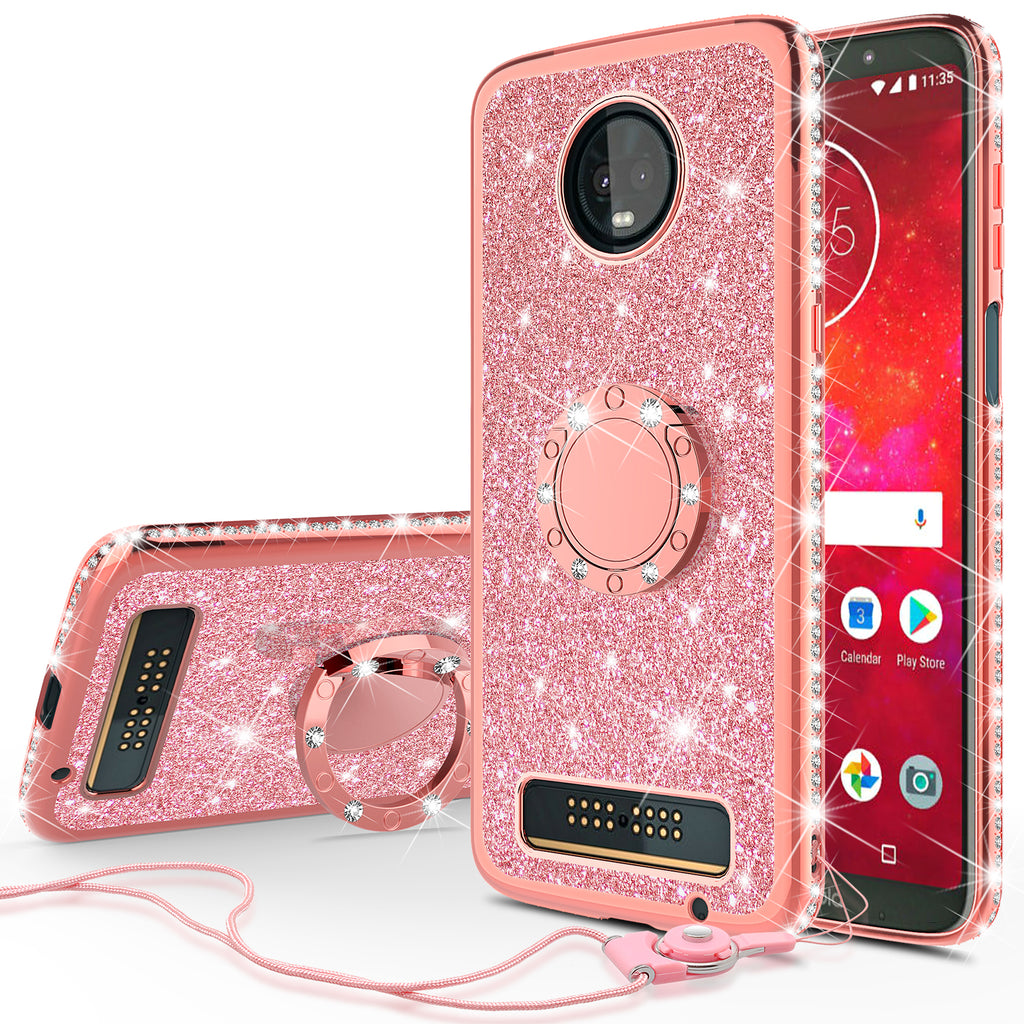 pretty nice 5a32c fbc33 Motorola Moto Z3 Play Case, Glitter Cute Phone Case Girls with  Kickstand,Bling Diamond Rhinestone Bumper Ring Stand Sparkly Luxury Clear  Thin Soft ...