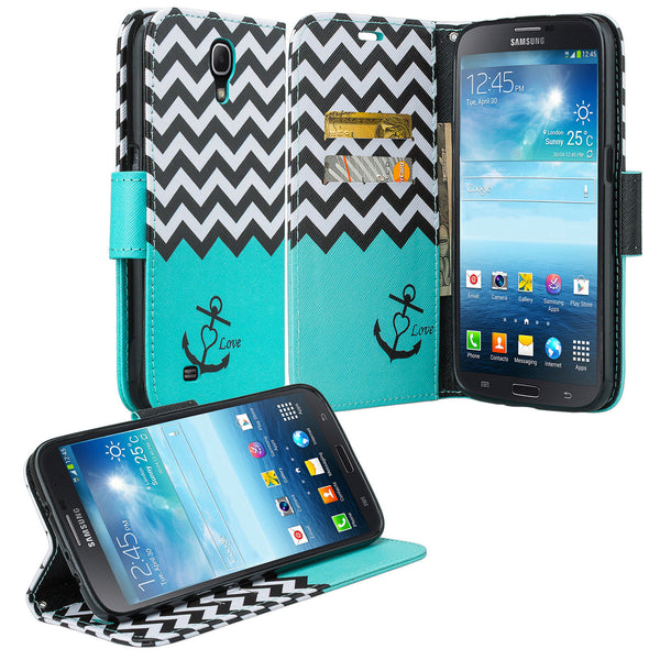 samsung galaxy mega 6.3 leather wallet case - teal anchor - www.coverlabusa.com