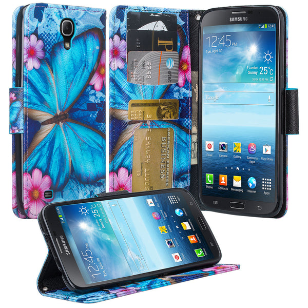 samsung galaxy mega 6.3 leather wallet case - blue butterfly - www.coverlabusa.com