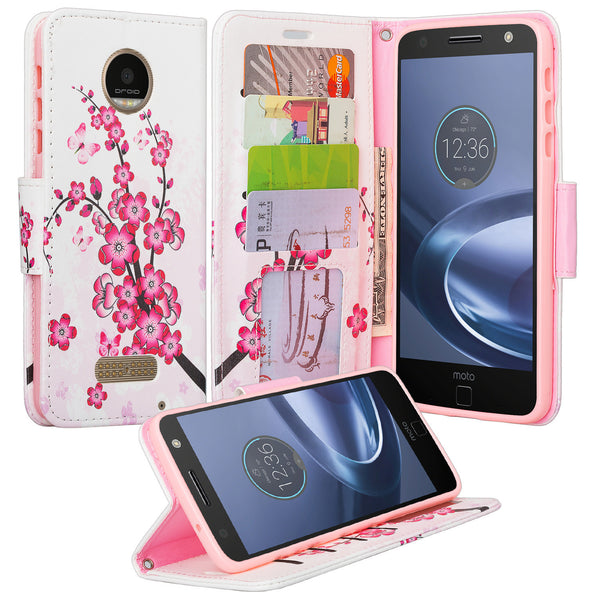 Moto Z Force Droid Wallet Case Cherry Blossom - www.coverlabusa.com