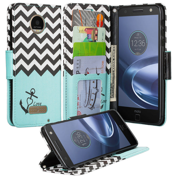 Moto Z Force Droid Wallet Case Teal Chevron Anchor, www.coverlabusa.com