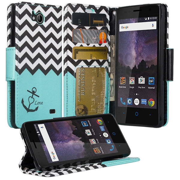 zte tempo case, wallet - teal anchor - www.coverlabusa.com