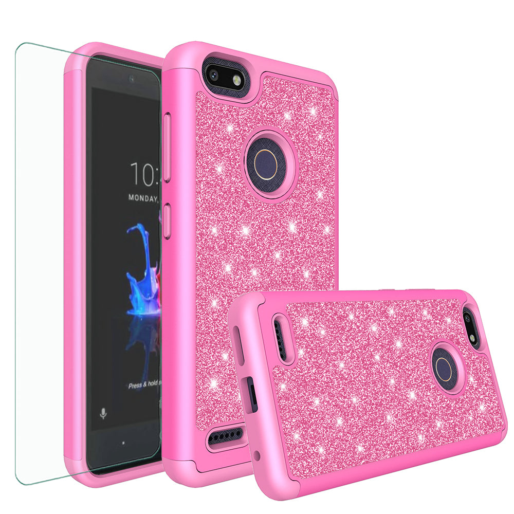 save off 55dfc c7629 ZTE Blade X Case, Blade X Glitter Bling Heavy Duty Shock Proof Hybrid Case  with [HD Screen Protector] Dual Layer Protective Phone Case Cover for ZTE  ...