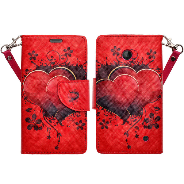 Nokia Lumia 635 Wallet Case - red hearts - www.coverlabusa.com