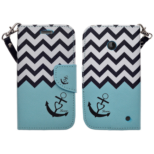 Nokia Lumia 635 Wallet Case - teal anchor - www.coverlabusa.com