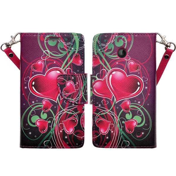 Nokia Lumia 635 Wallet Case - heart strings - www.coverlabusa.com
