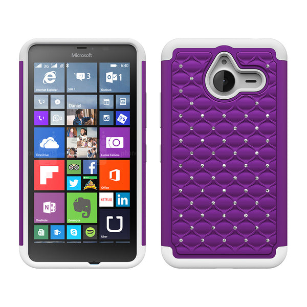 Microsoft Lumia 640 XL Rhinestone Case - Purple/White - www.coverlabusa.com