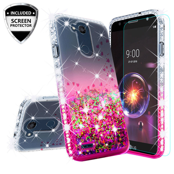 clear liquid phone case for lg x power 3 - hot pink - www.coverlabusa.com