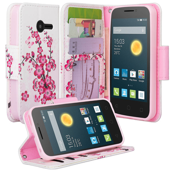 Alcatel Onetouch Pixi Plusar Pu leather wallet case - lotus - www.coverlabusa.com