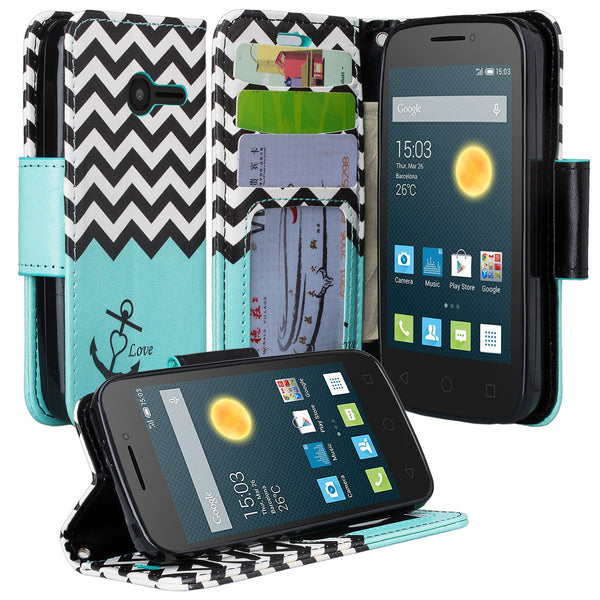 Alcatel Onetouch Pixi Plusar Pu leather wallet case - teal anchor - www.coverlabusa.com