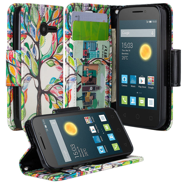 Alcatel Onetouch Pixi Plusar Pu leather wallet case - colorful tree - www.coverlabusa.com