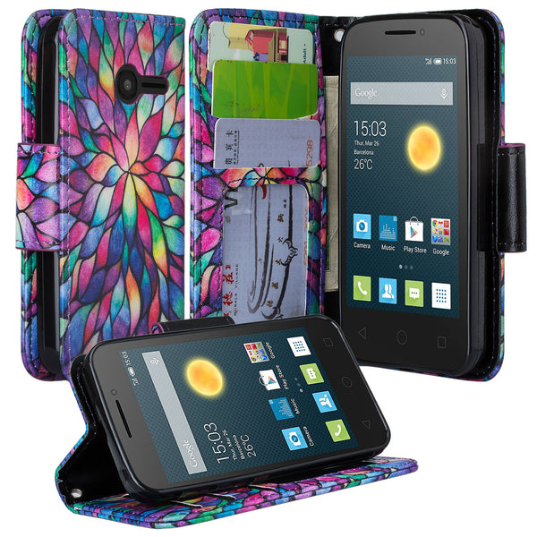 Alcatel Onetouch Pixi Plusar Pu leather wallet case - rainbow flower - www.coverlabusa.com