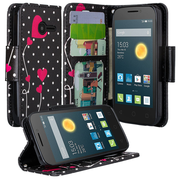 Alcatel Onetouch Pixi Plusar Pu leather wallet case - polka dot hearts - www.coverlabusa.com