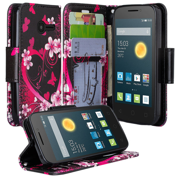 Alcatel Onetouch Pixi Plusar Pu leather wallet case - heart butterflies - www.coverlabusa.com