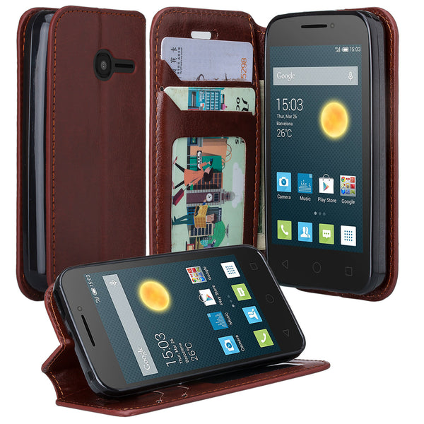 Alcatel Onetouch Pixi Plusar Pu leather wallet case - brown - www.coverlabusa.com