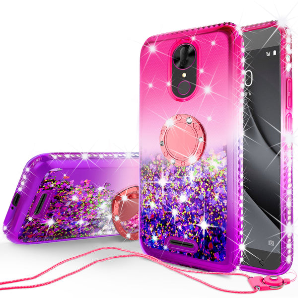 glitter ring phone case for coolpad revvl plus - hot pink gradient - www.coverlabusa.com