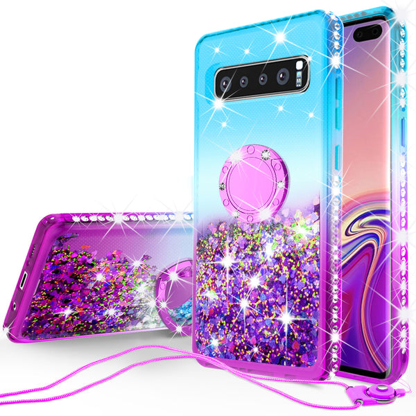 glitter ring phone case for samsung galaxy s10e - teal gradient - www.coverlabusa.com