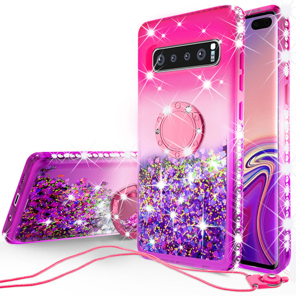 glitter ring phone case for samsung galaxy s10 plus - hot pink gradient - www.coverlabusa.com