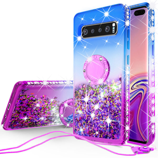 glitter ring phone case for samsung galaxy s10 plus - blue gradient - www.coverlabusa.com