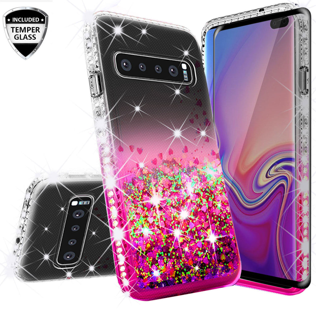 clear liquid phone case for samsung galaxy s10 plus - hot pink - www.coverlabusa.com