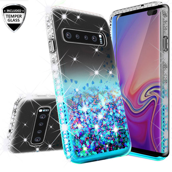 clear liquid phone case for samsung galaxy s10 plus - teal - www.coverlabusa.com
