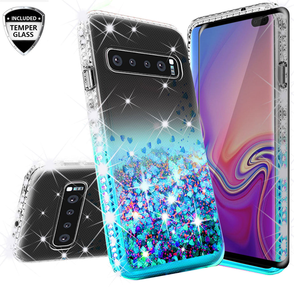 clear liquid phone case for samsung galaxy s10e - teal - www.coverlabusa.com