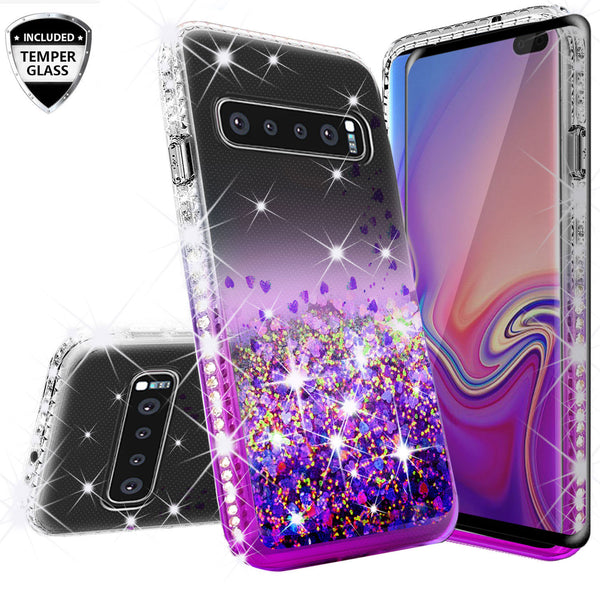 clear liquid phone case for samsung galaxy s10 plus - purple - www.coverlabusa.com