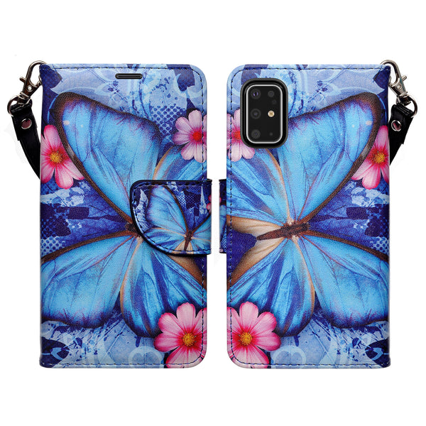 samsung galaxy s20 plus wallet case - blue buttefly - www.coverlabusa.com