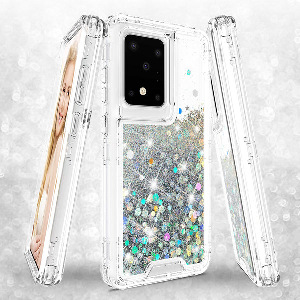 hard clear glitter phone case for samsung galaxy s20 ultra - clear - www.coverlabusa.com