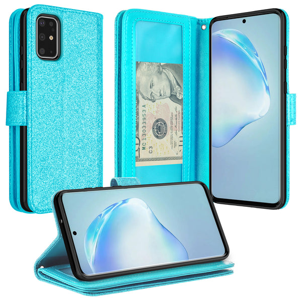 samsung galaxy s20 plus glitter wallet case - teal - www.coverlabusa.com
