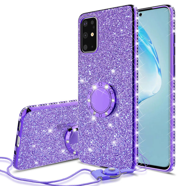 samsung galaxy s20 glitter bling fashion case - purple - www.coverlabusa.com