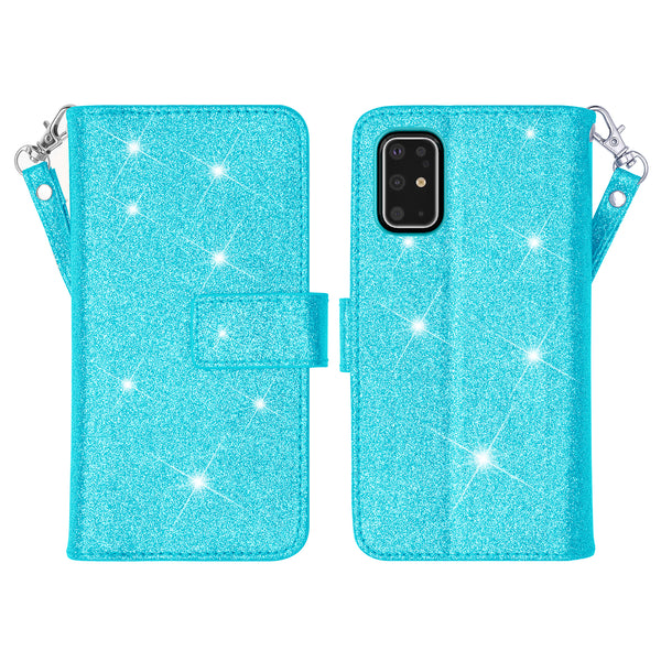samsung galaxy s20 glitter wallet case - teal - www.coverlabusa.com