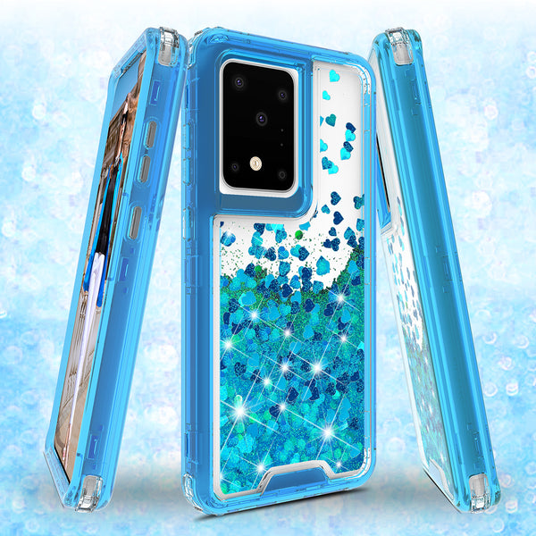 hard clear glitter phone case for samsung galaxy s20 plus - teal - www.coverlabusa.com
