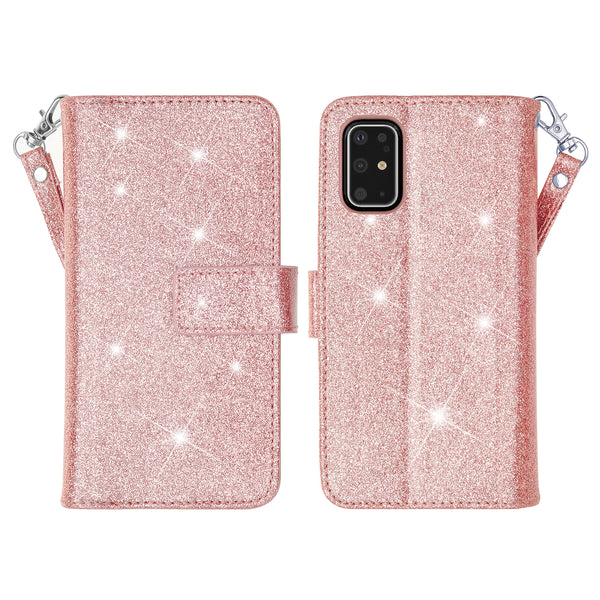 samsung galaxy s20 glitter wallet case - rose gold - www.coverlabusa.com