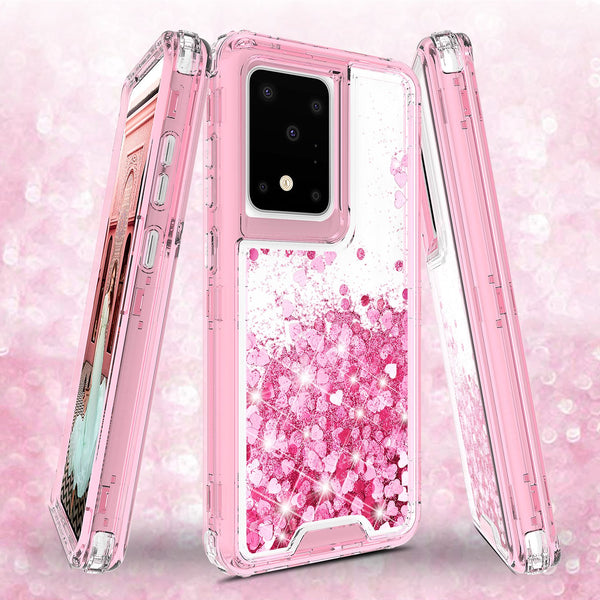 hard clear glitter phone case for samsung galaxy s20 plus - pink - www.coverlabusa.com