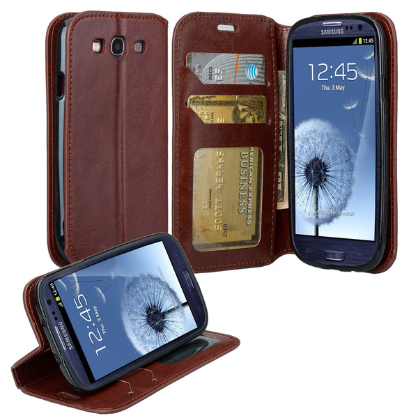 samsung galaxy S3 leather wallet case - brown - www.coverlabusa.com