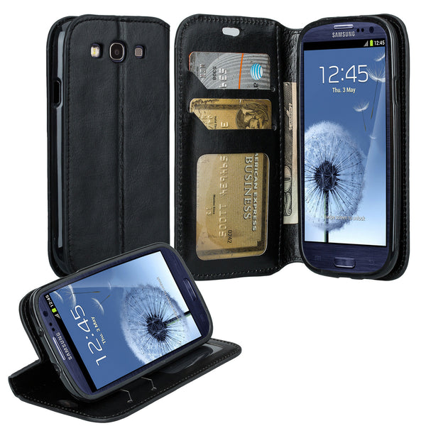samsung galaxy S3 leather wallet case - black - www.coverlabusa.com