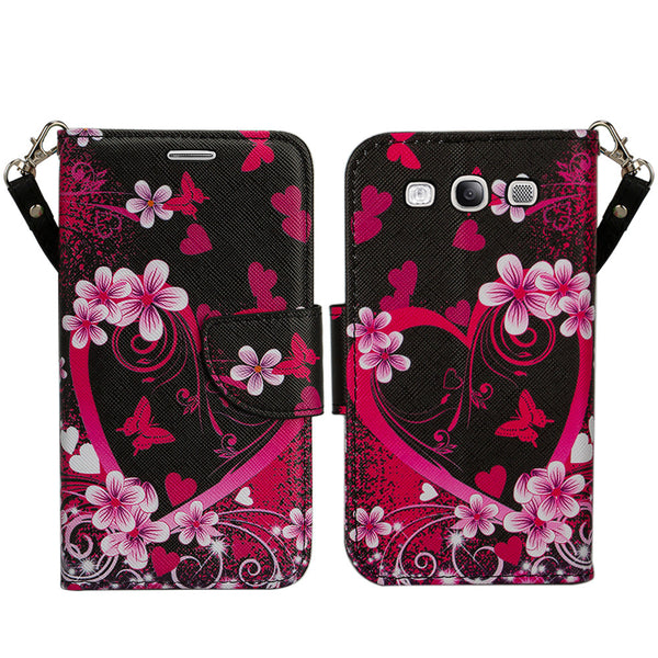 samsung galaxy S3 leather wallet case - heart butterflies - www.coverlabusa.com