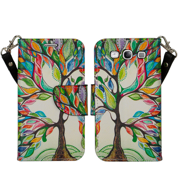samsung galaxy S3 leather wallet case - colorful tree - www.coverlabusa.com