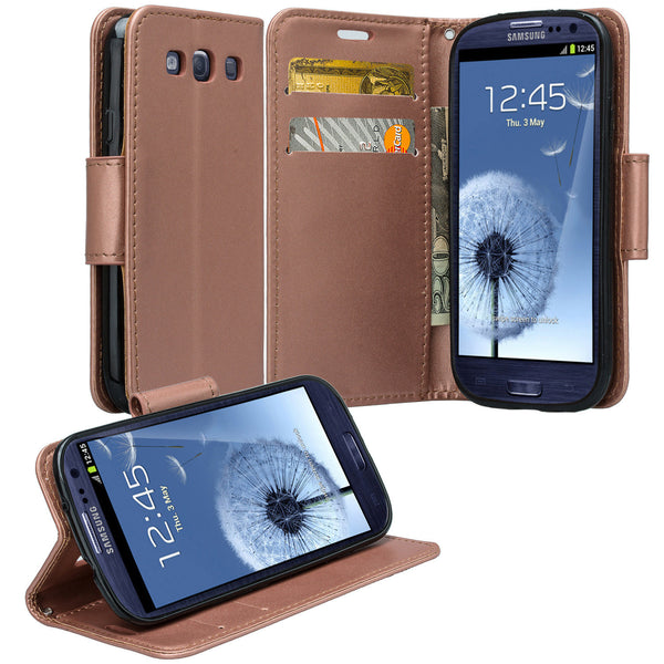 samsung galaxy S3 leather wallet case - rose gold - www.coverlabusa.com