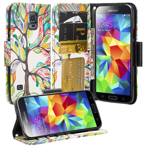 samsung galaxy S5 leather wallet case - vibrant tree - www.coverlabusa.com
