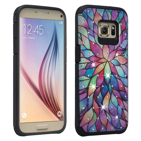 Galaxy S7 Edge diamond rhinestone case - rainbow flower - www.coverlabusa.com