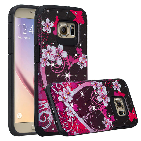 Galaxy S7 Edge diamond rhinestone case - heart butterflies - www.coverlabusa.com
