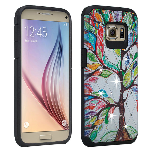Galaxy S7 Edge diamond rhinestone case - vibrant tree - www.coverlabusa.com